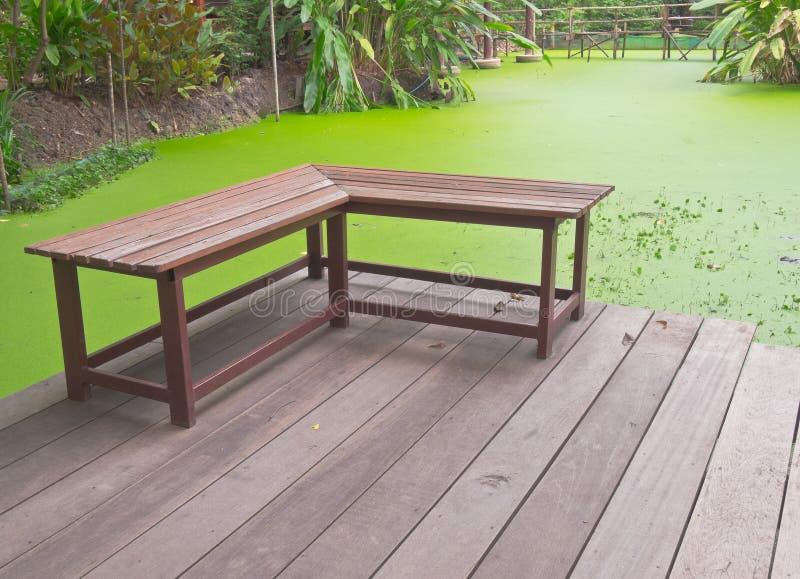 Rechte hoek houten bank op veranda naast groene vijver van for Rechte vijver