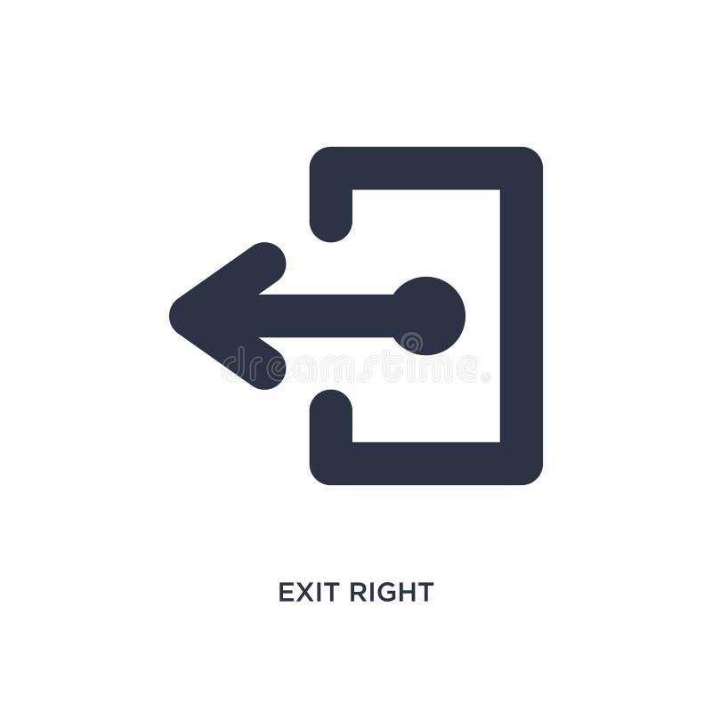 rechte Ikone des Ausganges auf weißem Hintergrund Einfache Elementillustration vom Pfeilkonzept stock abbildung