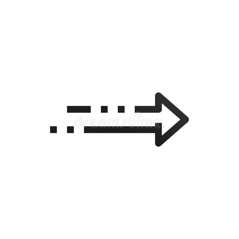 Rechte minimale Artpunkte und -linien des geometrischen moderner Entwurfs-begrifflichpfeiles Vektorabbildung getrennt auf wei?em  stock abbildung