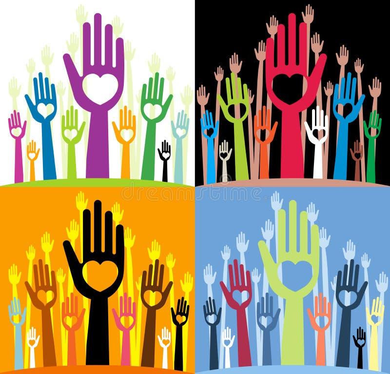Rechte vingers met diverse hartvormen stock illustratie