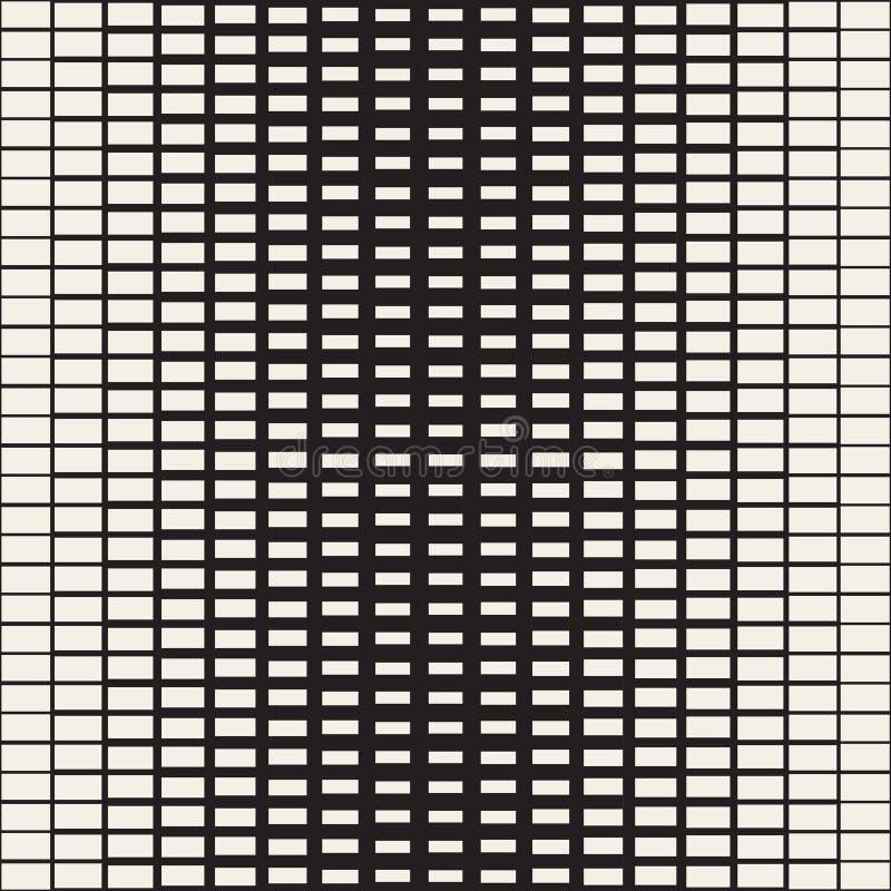 Rechteck-Übergangs-Halbton-Gitter Vektornahtloses Schwarzweiss-Muster stock abbildung