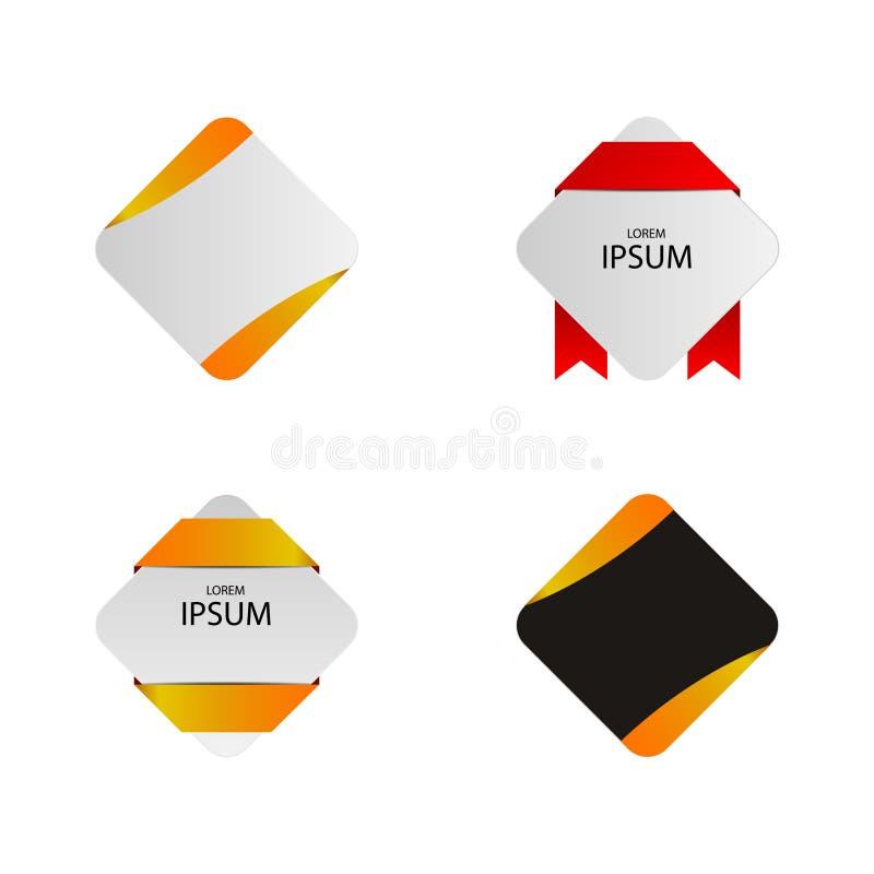 Rechteck-erstklassiges Aufkleber-Element stockfotos
