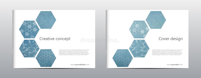 Rechteckbroschüren-Schablonenplan, Abdeckung, Jahresbericht, Zeitschrift in der Größe A4 mit sechseckiger Molekülstruktur vektor abbildung