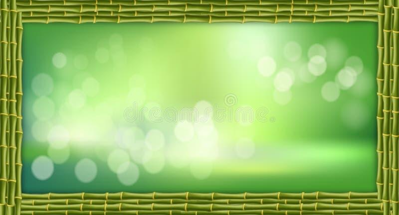 Rechteckgrünbambusstammgrenze mit unscharfem Hintergrund- und Kopienraum stock abbildung