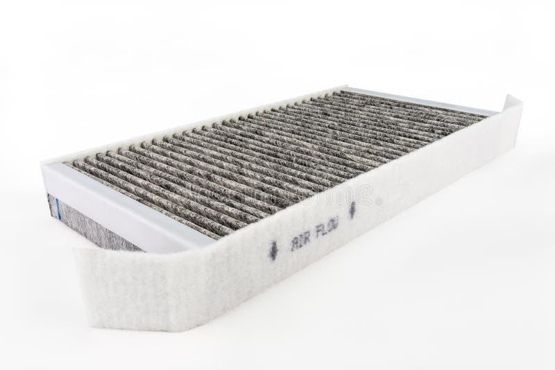 Rechteckig, Kohlenstoffautofilter, lokalisiert auf einem weißen Hintergrund mit einem Beschneidungspfad stockfoto