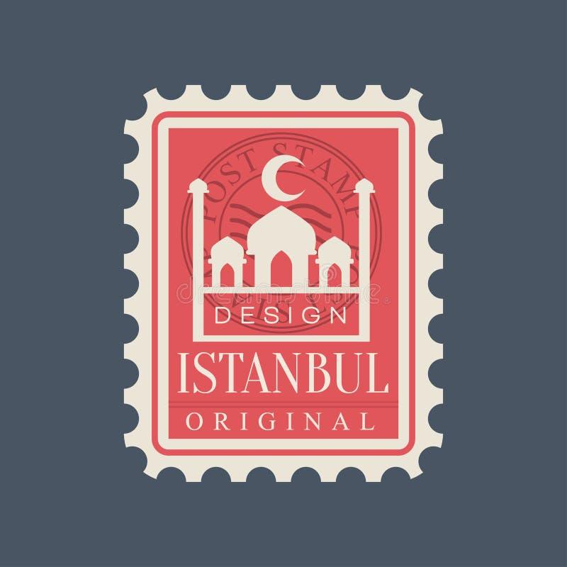 Rechteckige Briefmarke von Istanbul-Stadt mit blauem Moscheenschattenbild Symbol mit berühmtem türkischem Markstein ursprünglich stock abbildung