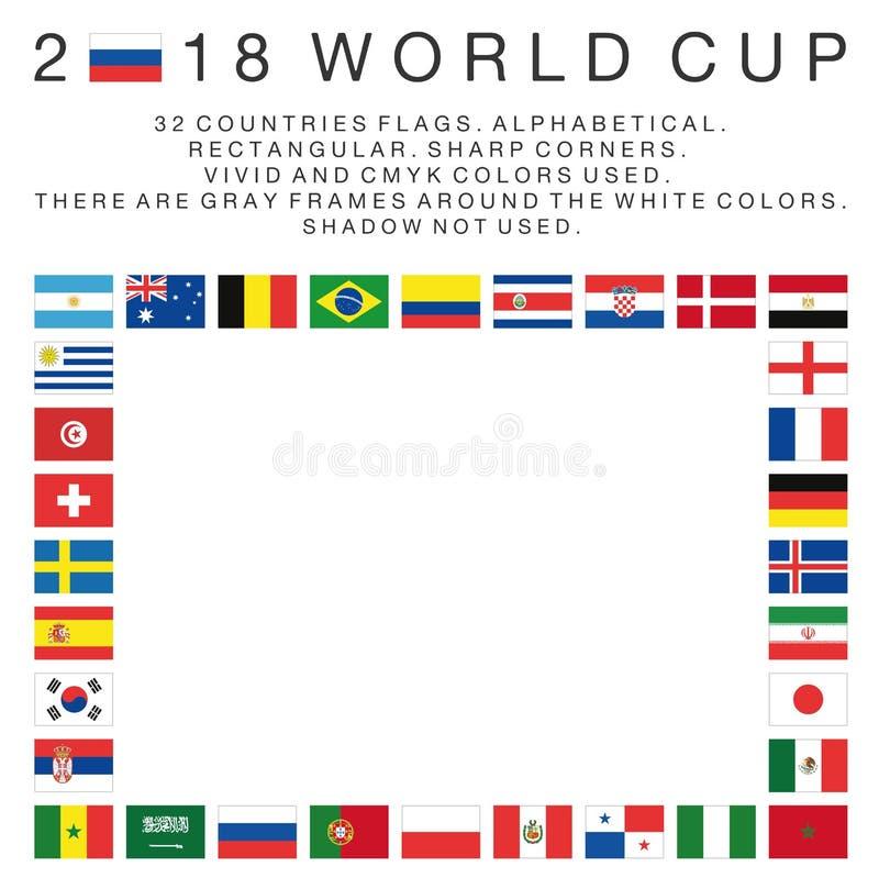 Rechteckige Flaggen von Ländern mit 2018 Weltcupen