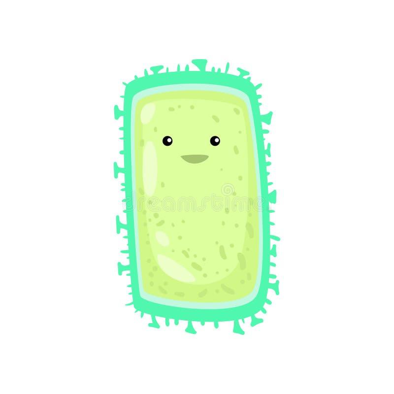 Rechteckige grüne Bakterie oder Virus mit den kurzen Beinen um den Umkreis lokalisiert auf weißem Hintergrund stock abbildung