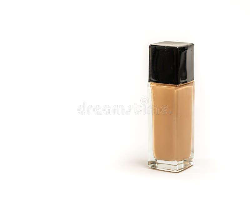 Rechteckige kosmetische Flaschen-Grundlage auf weißem Hintergrund stockfotos