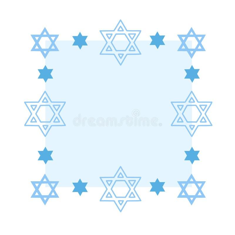 Rechteckiger Rahmen mit jüdischen David Stars lizenzfreie abbildung