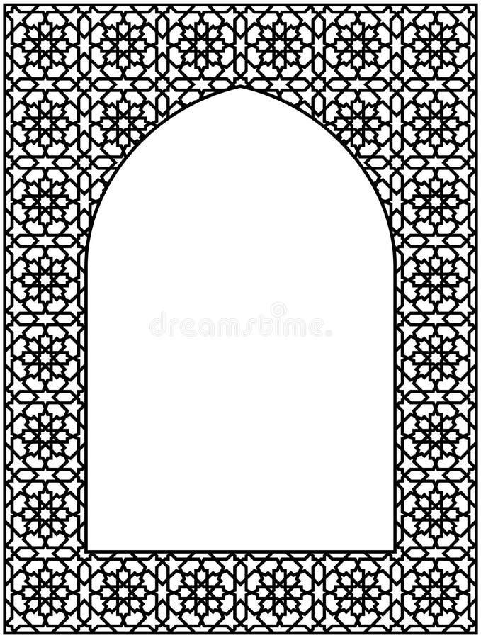 Rechteckiger Rahmen mit traditioneller arabischer Verzierung für Einladungskarte vektor abbildung
