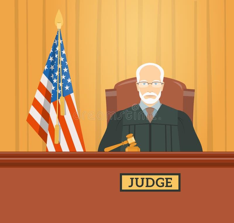 Rechter in gerechtsgebouw vlakke illustratie stock illustratie