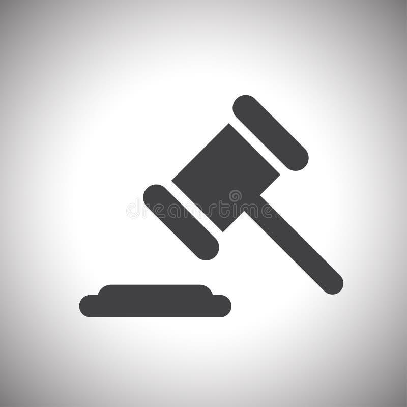 Rechter of het pictogram van de veilingshamer vector illustratie
