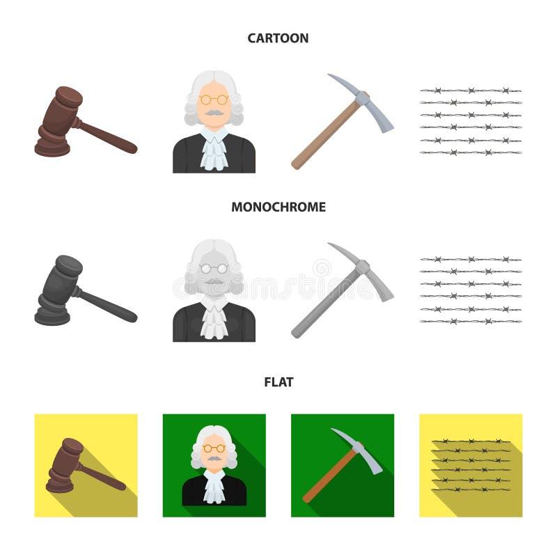 Rechter, houten hamer, prikkeldraad, pikhouweel Pictogrammen van de gevangenis de vastgestelde inzameling in beeldverhaal, vlak,  vector illustratie