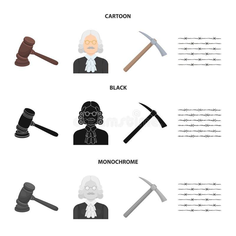 Rechter, houten hamer, prikkeldraad, pikhouweel Pictogrammen van de gevangenis de vastgestelde inzameling in beeldverhaal, zwart, vector illustratie