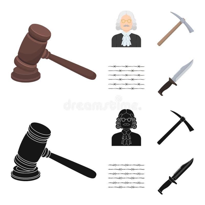 Rechter, houten hamer, prikkeldraad, pikhouweel Pictogrammen van de gevangenis de vastgestelde inzameling in beeldverhaal, de zwa vector illustratie