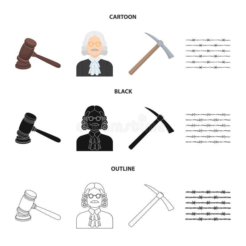 Rechter, houten hamer, prikkeldraad, pikhouweel Pictogrammen van de gevangenis de vastgestelde inzameling in beeldverhaal, zwarte vector illustratie