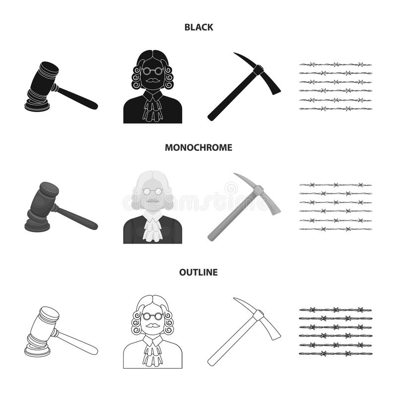 Rechter, houten hamer, prikkeldraad, pikhouweel Pictogrammen van de gevangenis de vastgestelde inzameling in het zwarte, zwart-wi vector illustratie