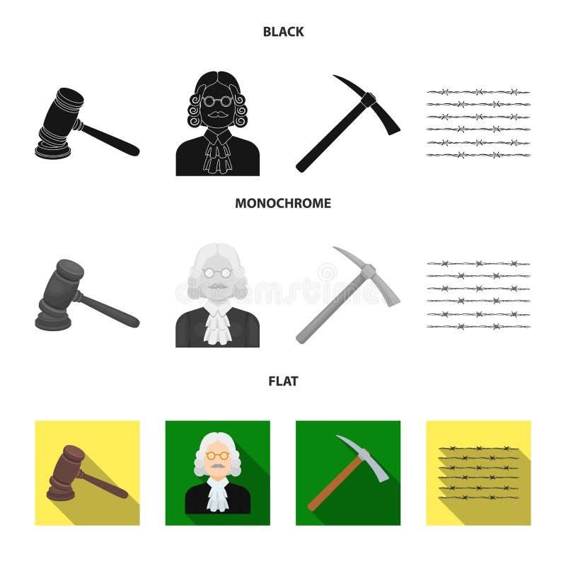 Rechter, houten hamer, prikkeldraad, pikhouweel Pictogrammen van de gevangenis de vastgestelde inzameling in zwart, vlak, zwart-w vector illustratie
