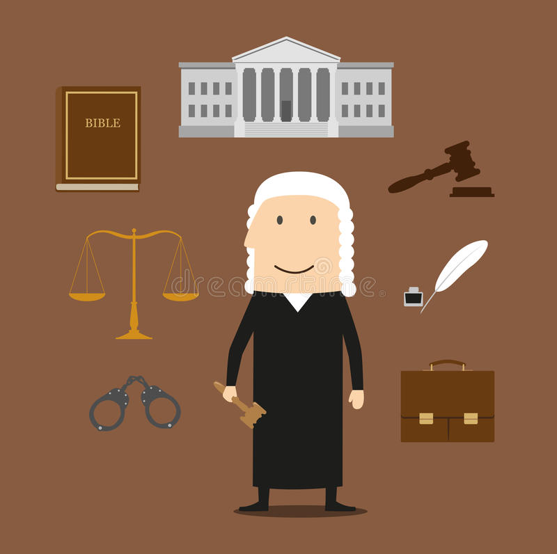 Rechter met hof en rechtvaardigheidspictogrammen vector illustratie