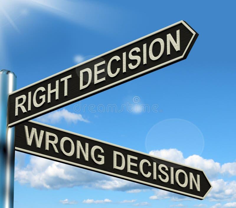 Rechter oder falscher EntscheidungSignpost lizenzfreie abbildung