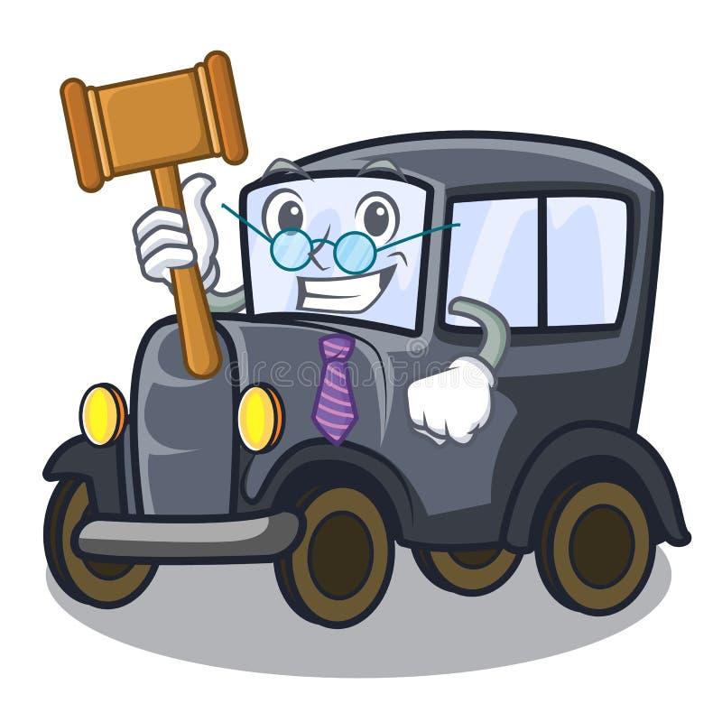 Rechters oude miniatuurauto in vormmascotte stock illustratie