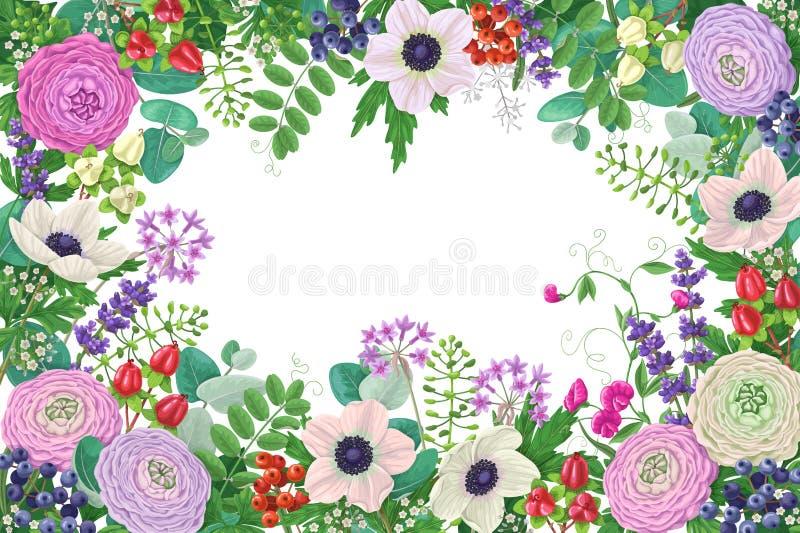 Rechthoek Bloemenkader stock illustratie