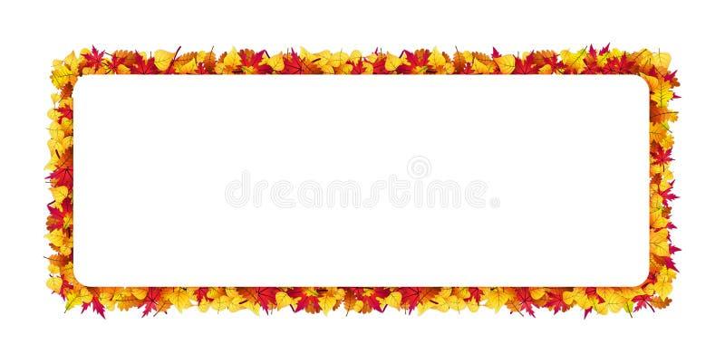 Rechthoekig die kader van de herfstbladeren wordt gemaakt Vector Malplaatje royalty-vrije illustratie