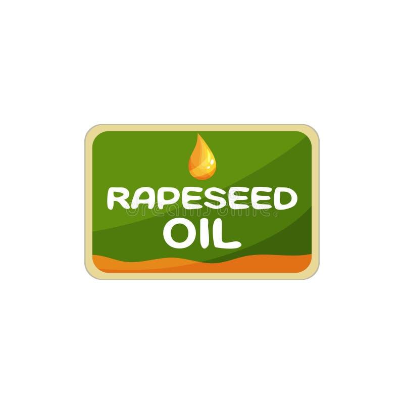 Rechthoekig etiket voor raapzaadolie Verpakkingsontwerp voor biologisch product Grafisch element voor promotieaanplakbiljet royalty-vrije illustratie