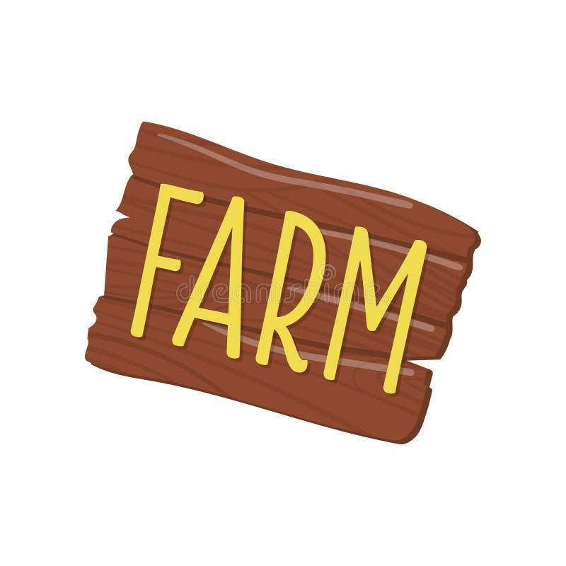 Rechthoekig houten uithangbord met woordlandbouwbedrijf Bruine raad met tekst Grafisch ontwerpelement voor mobiel spel beeldverha royalty-vrije illustratie