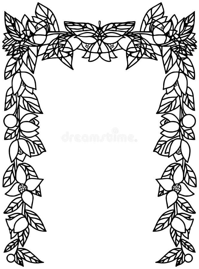 Rechthoekig kader met takken, bladeren, bessen en bloemen royalty-vrije stock fotografie