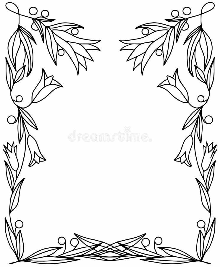 Rechthoekig kader met takken, bladeren, bessen en bloemenklokken royalty-vrije stock fotografie