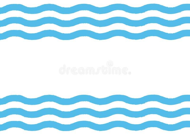 Rechthoekige achtergrond met horizontale golven Getrokken door hand stock illustratie