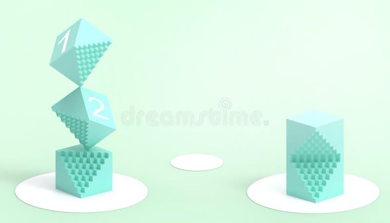 Rechthoekige doos Groen van wiskunde en technologie en een eenvoudig en mooi bedrijfs creatief concept op Groene achtergrond royalty-vrije illustratie