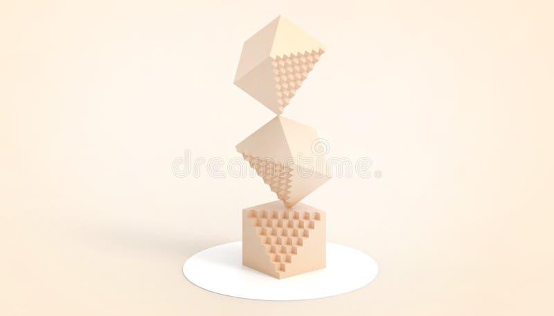 Rechthoekige doossinaasappel van wiskunde en technologie en een eenvoudig en mooi bedrijfs creatief concept op Oranje achtergrond stock illustratie