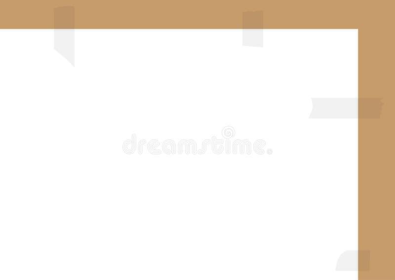 Rechthoekige horizontale achtergrond voor tekst Een blad van document met plakband wordt gelijmd die royalty-vrije illustratie
