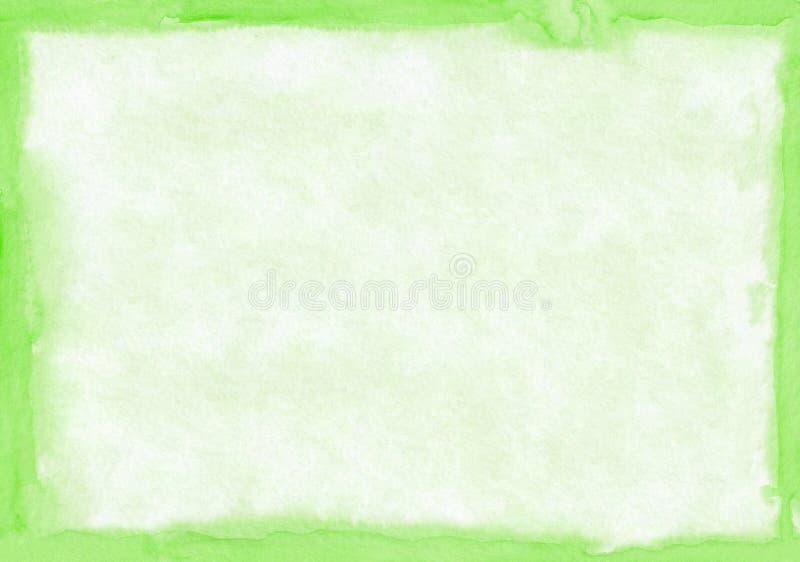 Rechthoekige regelmatig gestalte gegeven lichtgroene watercolourachtergrond Mooi abstract canvas voor gelukwensen stock illustratie