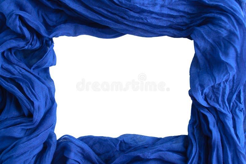 Rechthoekige spatie voor achtergrond Blauwe stof Verfrommeld Katoen wit isoleer royalty-vrije stock foto's