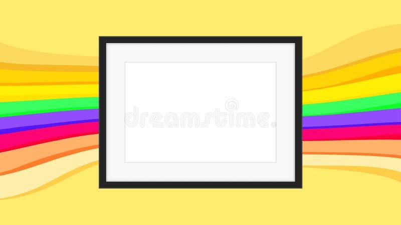 Rechthoekkader leeg op kleurrijke regenboogachtergrond, omlijstingen op kleurrijke modieuze, lege kadersdecoratie met regenboog vector illustratie