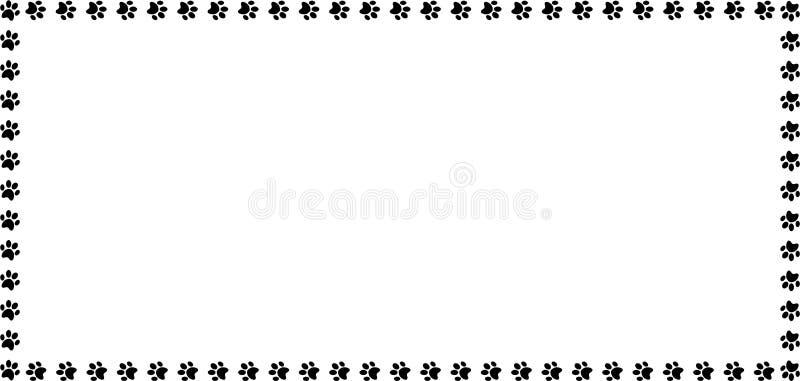 Rechthoekkader van zwarte dierlijke pootdrukken wordt gemaakt op witte achtergrond die royalty-vrije illustratie