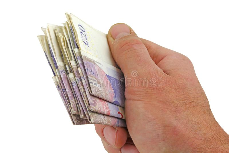 Rechts Aanbiedend een handvol van geld stock afbeeldingen