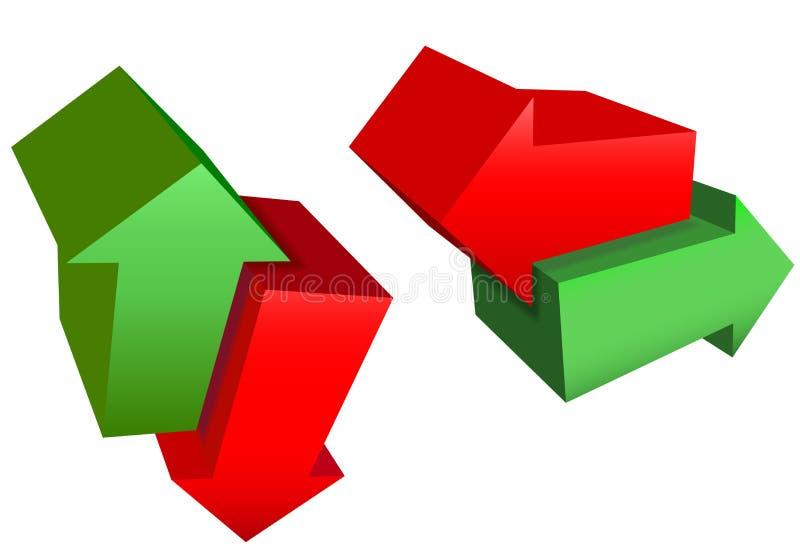 Rechts-links omhoog onderaan de Rode Groene 3D Pijlen van de Richting stock illustratie