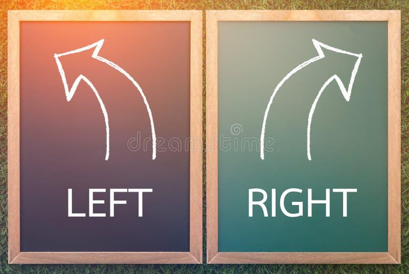 Rechts-links und Pfeil gezeichnet mit Kreide auf einer Tafel stockbilder