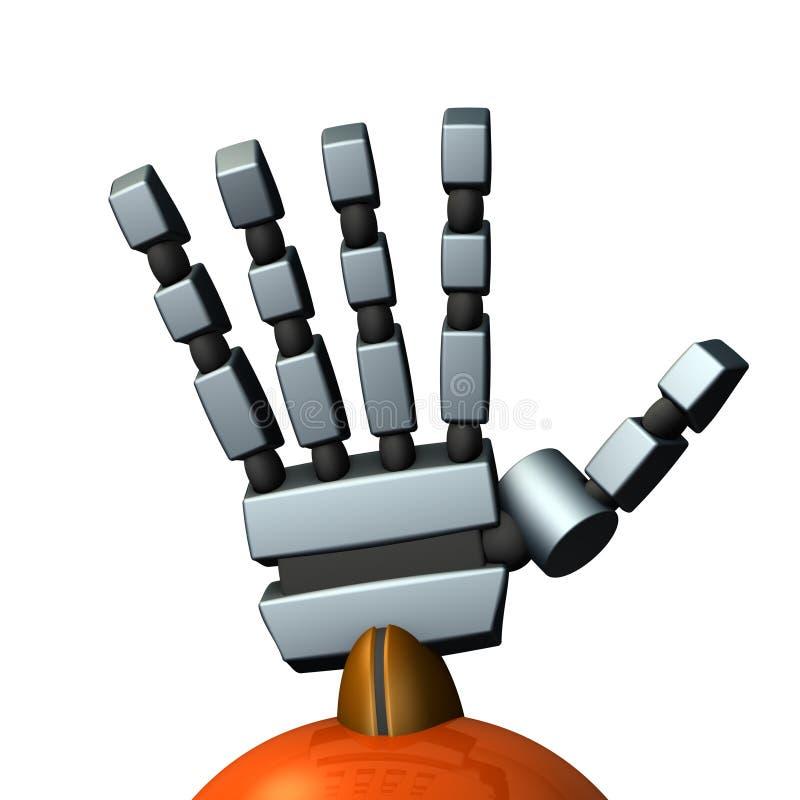 Rechts van een robot Het spreidt de palm uit stock illustratie