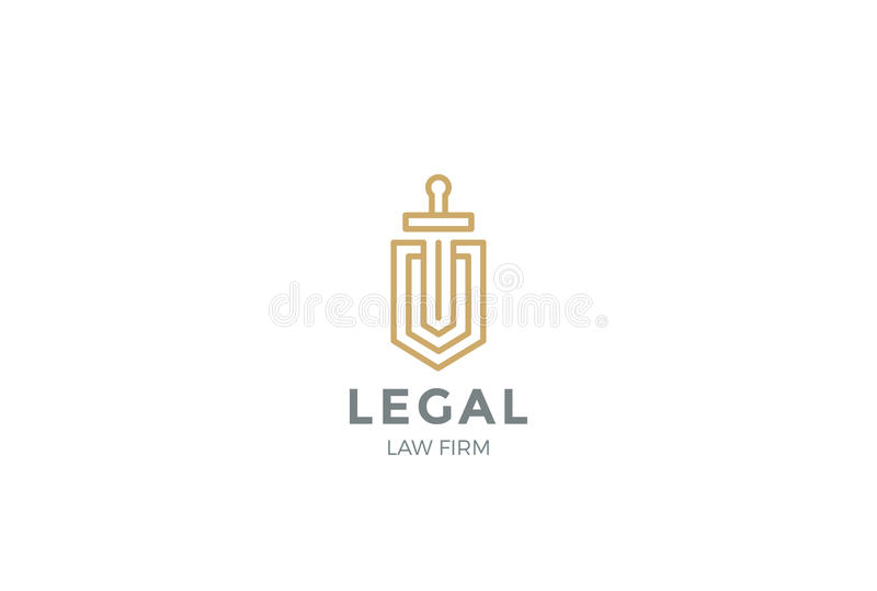 Rechtsanwalt Attorney Logo Shield Sword Law Legal lizenzfreie abbildung