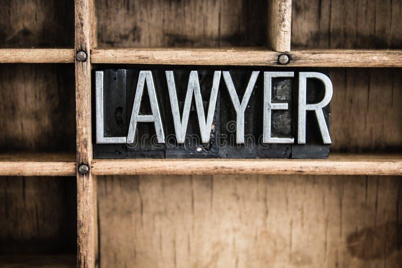 Rechtsanwalt-Concept Metal Letterpress-Wort im Fach lizenzfreie stockfotografie