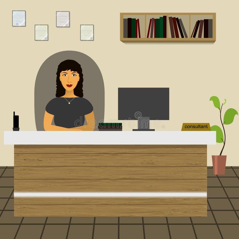 Rechtsanwalt-Consultant-VerwalterBüroangestellt-Sekretärdirektor, der am Schreibtisch im Büro sitzt stock abbildung