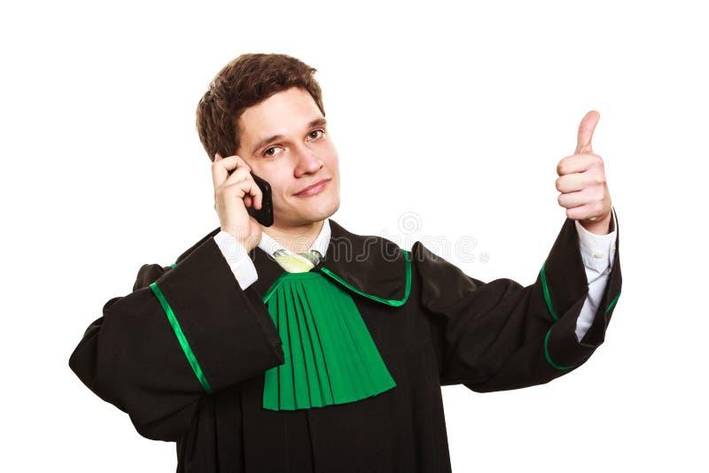 Rechtsanwalt mit dem Daumen bilden einen Telefonanruf lizenzfreie stockfotos