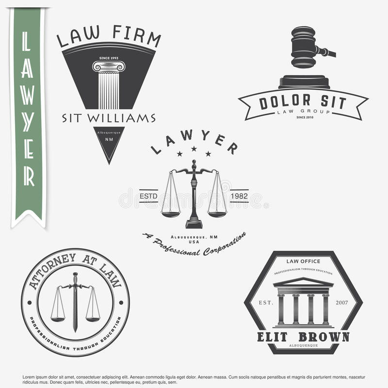 Rechtsanwaltdienstleistungen Rechtsanwaltsbüro Der Richter, der Bezirksstaatsanwalt, der Rechtsanwaltsatz von Weinleseaufklebern  vektor abbildung