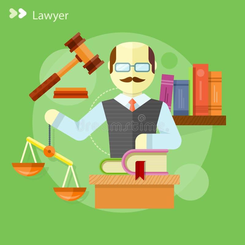 Rechtsanwaltikonenkonzept stock abbildung